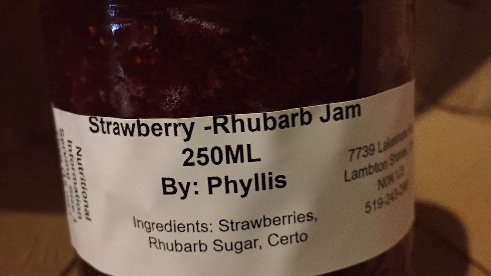 Phyllis's Strawberry-Rhubarb Jam (250ml)