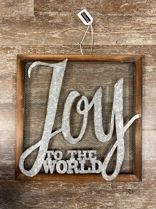 """Joy to the World"" 16"" x 16"" Wood and Metal Sign"