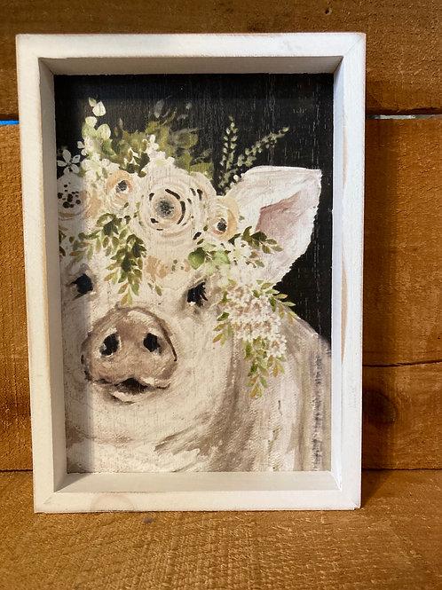 """8"""" x 5.75"""" Floral Pig Wood Framed Picture"""
