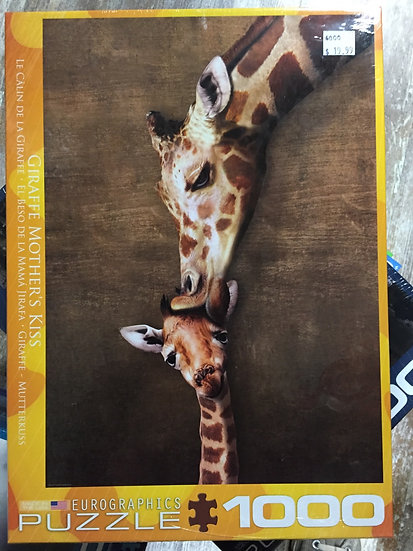 Giraffe Mother's Kiss - 1000 Piece Puzzle