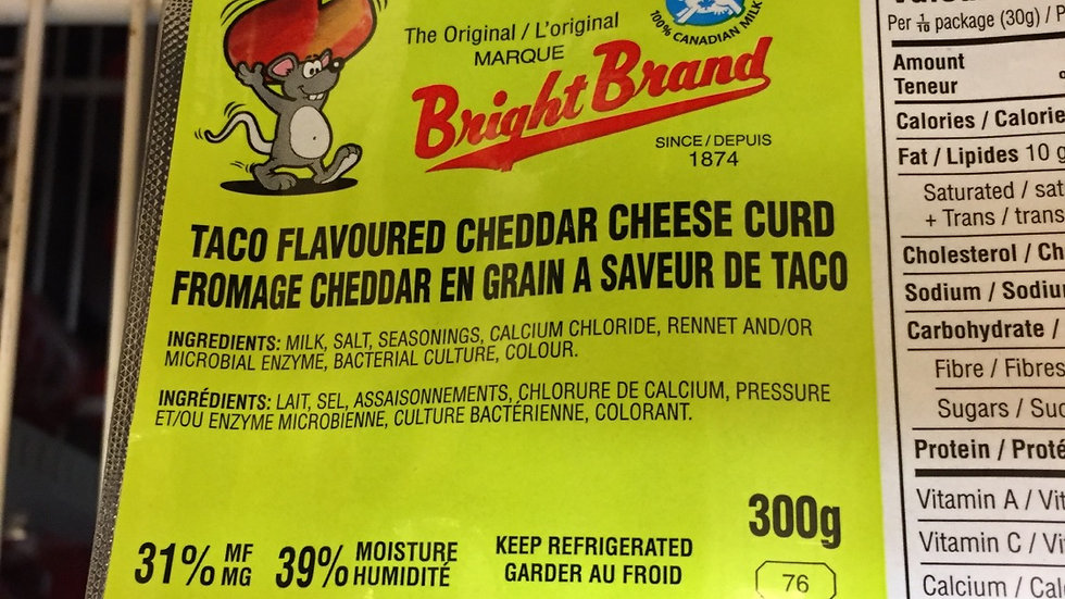 WF Taco Flavoured Bright Brand Cheese Curds