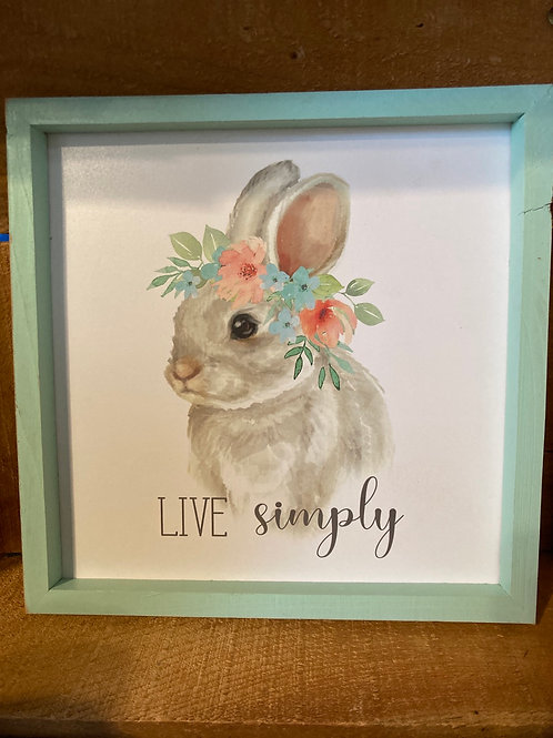 "9.5"" x 9.5"" Floral Bunny Rabbit Wood Framed Picture"