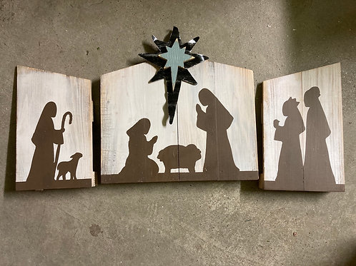 4 piece Wood and Metal Nativity