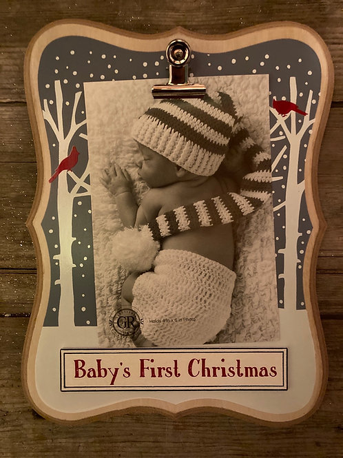 """9"""" x 7"""" Baby's First Christmas Photo Clip Frame"""