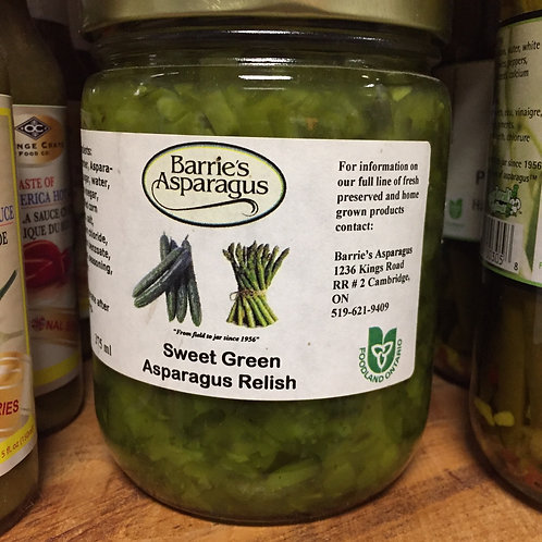 Barrie's Asparagus Sweet Green Asparagus Relish 375 ml jar