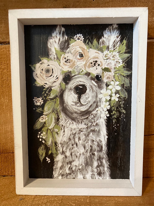 """8"""" x 5.75"""" Floral Llama Wood Framed Picture"""