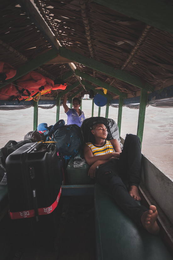 Amazon River Boat Sleeping Man portrait