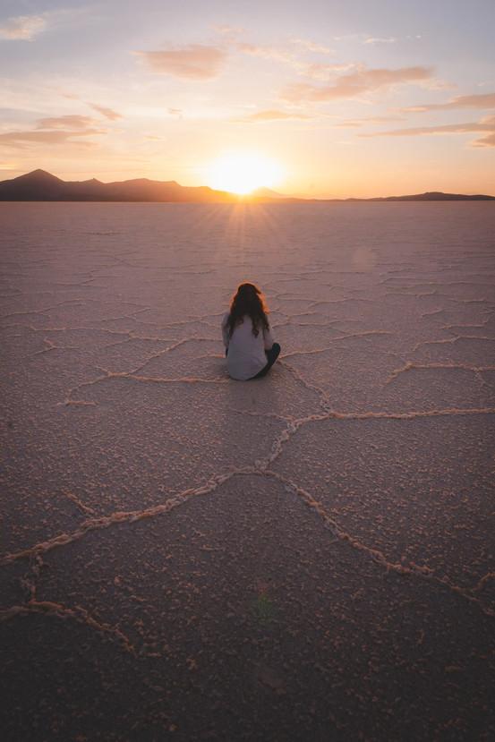 Uyuni Salt Flats Kat Sunset portrait web
