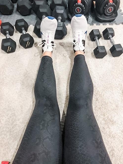 Black Foil Snake Print Leggings