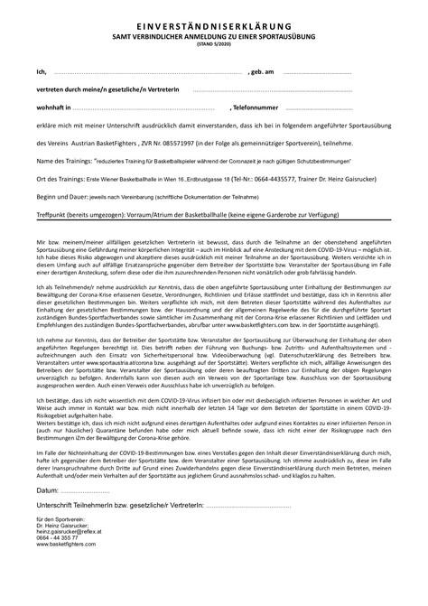 Corona - Einverständniserklärung zur Trainingsteilnahme
