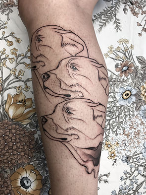 dogs linework tattoo