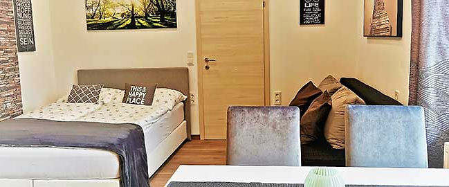 Apartment_Sonne_Wohnschlafraum_Bett_Couc
