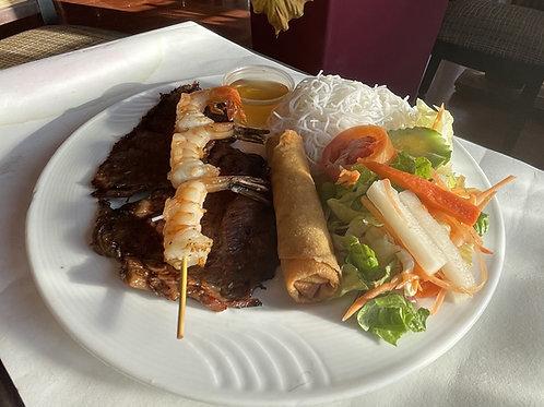 Flank steak et brochette de crevettes (1)