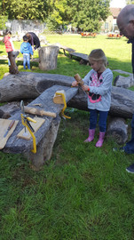 Wood carving at Family STEAM Festival
