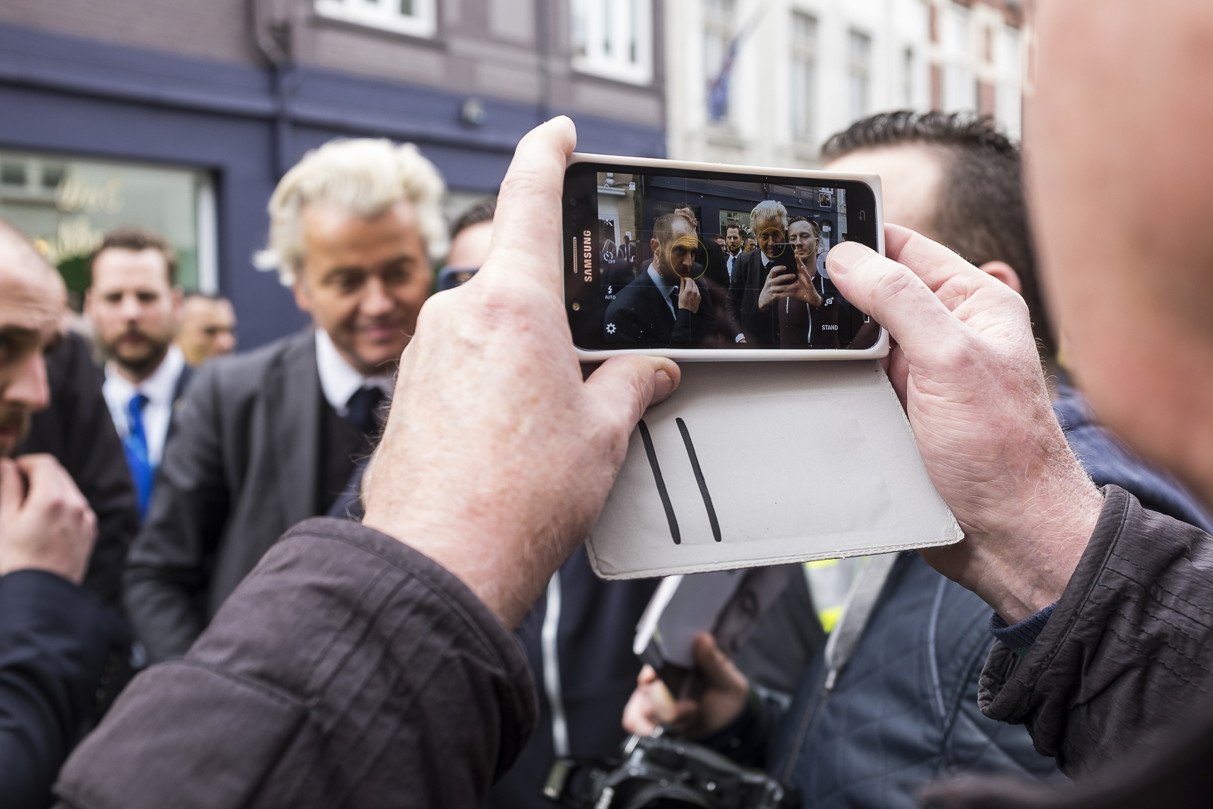 Firebrand anti-Islam lawmaker Geert Wilders, poses for a photo with supporters during a campaign stop in Heerlen, Netherlands, on March 11, 2017.