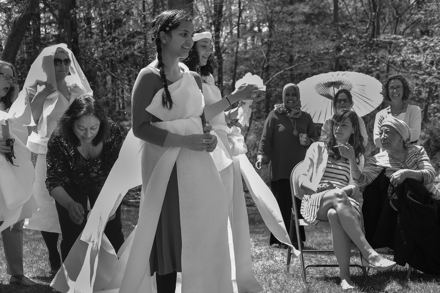 Wedding games: teams of four girls competed against each other to see who could make the best wedding dress from a roll of paper towels in 10 minutes. The bride, Sara, and a seamstress, Sophie Gungar—also known as Anane to all of the girls in the comunity, which means grandmother in Turkish—judged the final products.