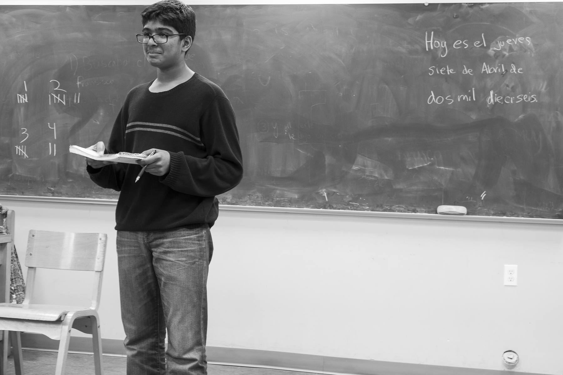 Yasin Alam, a sophomore at Green Meadow Waldorf School, stands before his Spanish class to give a presentation. Yasin's parents, who are originally from Bangladesh, have been members of the Jerrahi Order of America for many years.
