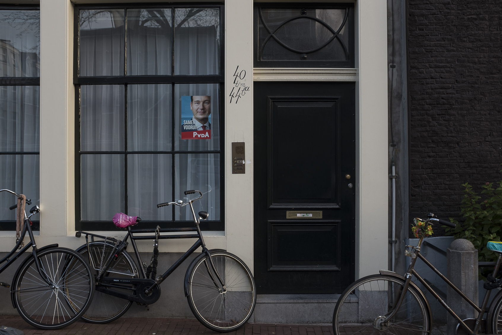A poster of one of the candidtes in the Dutch general elections in the window of a resident in Amsterdam, Netherlands. March 14, 2017.