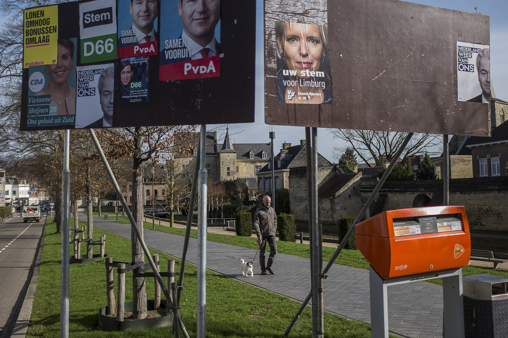 A billboard in Valkenburg, Netherlands, with posters showing the candidates for the Dutch general elections. March 11, 2017.