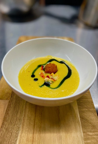 Native Corn Soup with Maine Lobster, Corn Fritter, and Basil Pesto