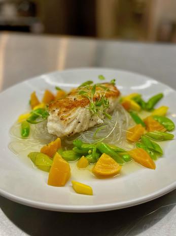 Halibut w/ Summer Vegetables, Sweet Potato Vermicelli, Kafir Lime Leaf Broth