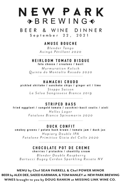 Tickets for Beer & Wine Dinner on 9/22