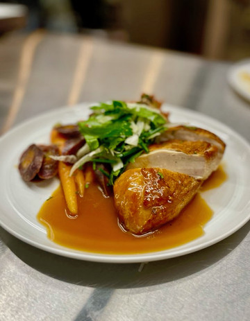 Pan Roasted Chicken w/ Herb-Parmesan Tater Tot, Spiced Local Heirloom Carrots, Natural Jus