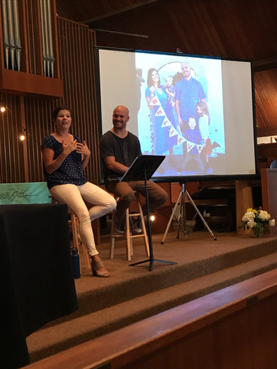 """Lauren and Chase Feindel talk on """"Living Fearlessly"""" during Saturday morning's session"""