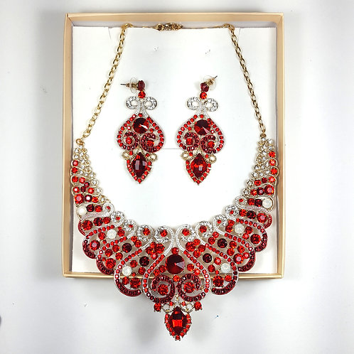 Ruby Red Necklace & Earring Set