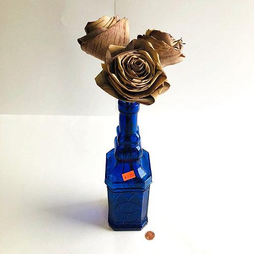 Vintage Blue Bottle w/ 3 Wooden Roses