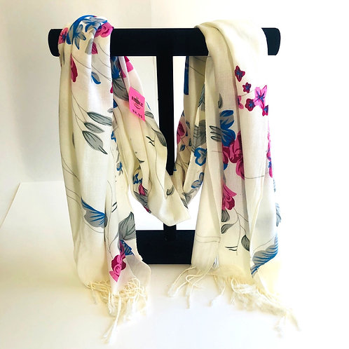 Off White Floral Scarf