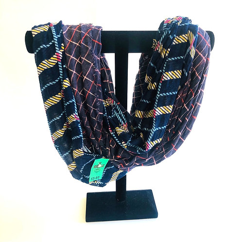 MIXIT Royal Blue Patterned Infinity Scarf
