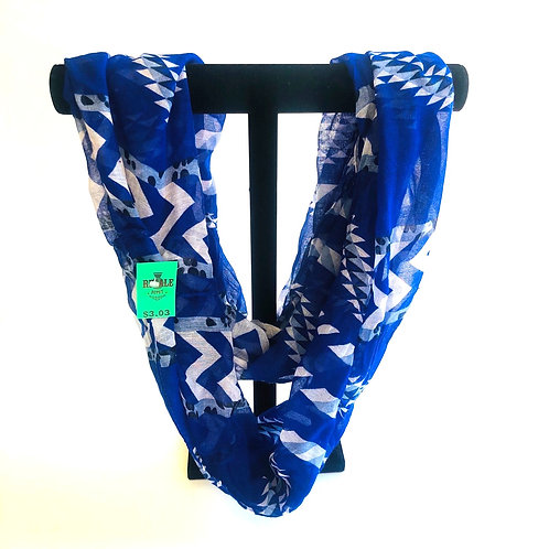 Patterned Royal Blue Infinity Scarf