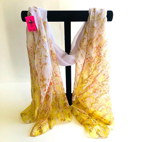 Sheer  White & Yellow Scarf