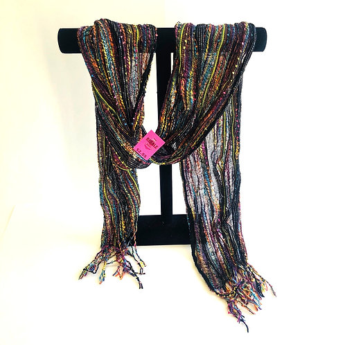 Shimmery Black Scarf of Many Colors