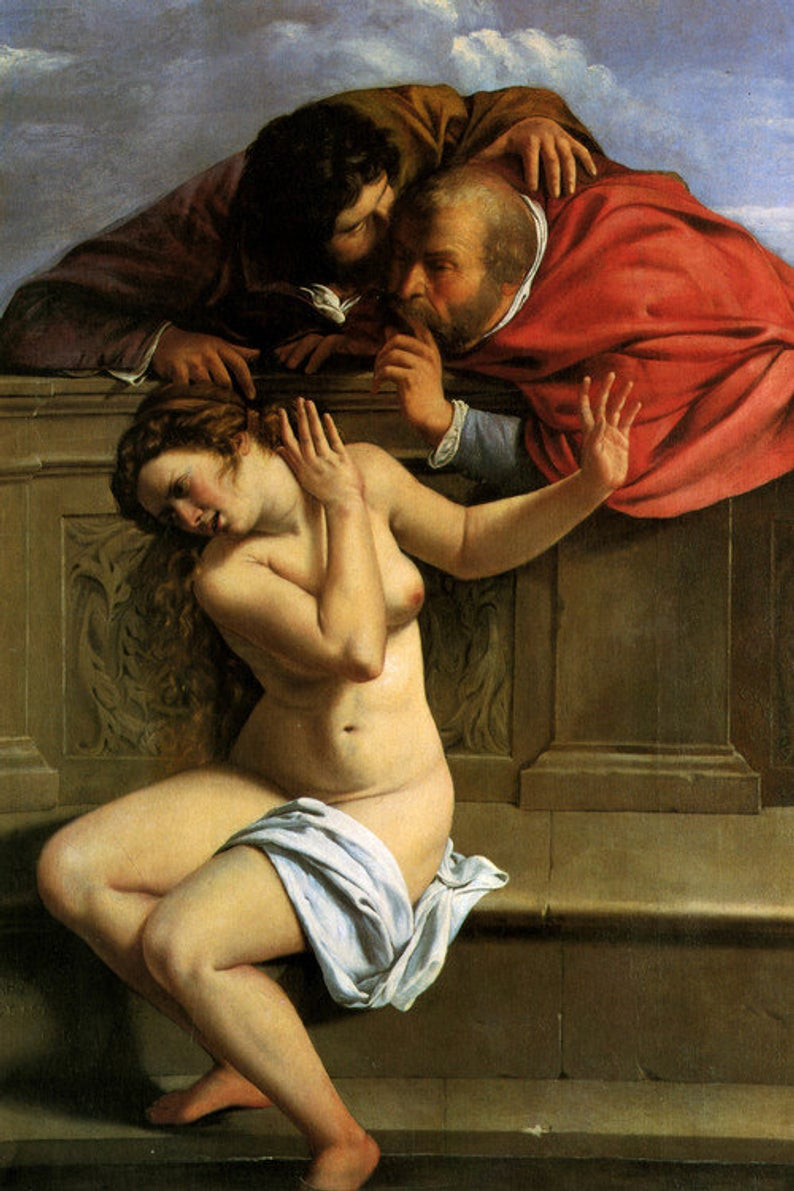 Young woman bathing accosted by two old men