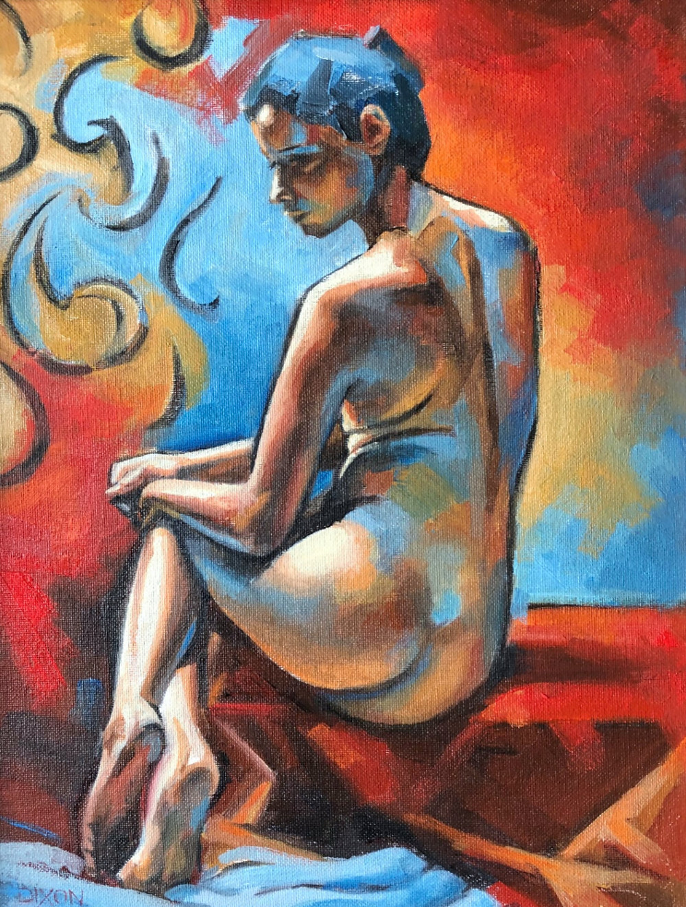 Modern painting of a nude female