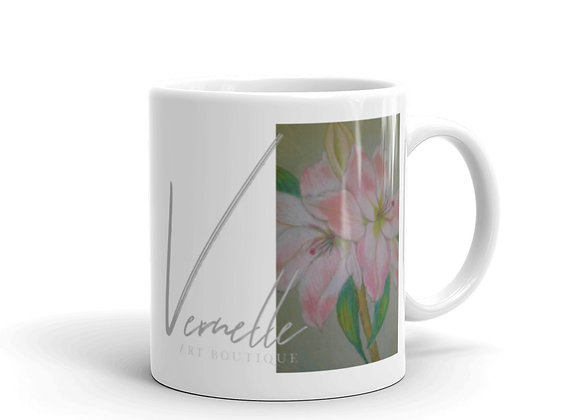 Lilies In Spring White Glossy Mug
