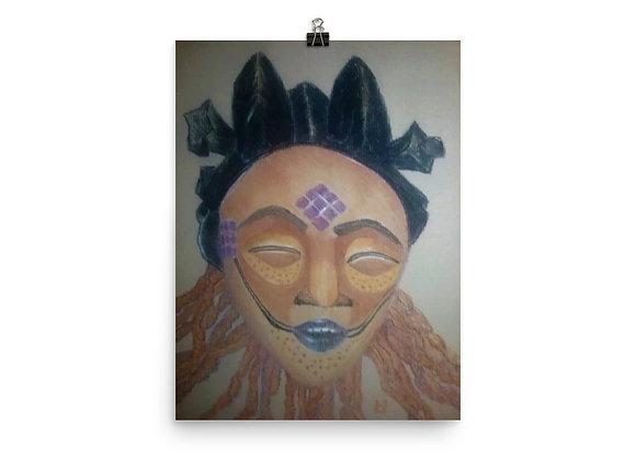 Punu Maiden Mask - Lioness Digital Print