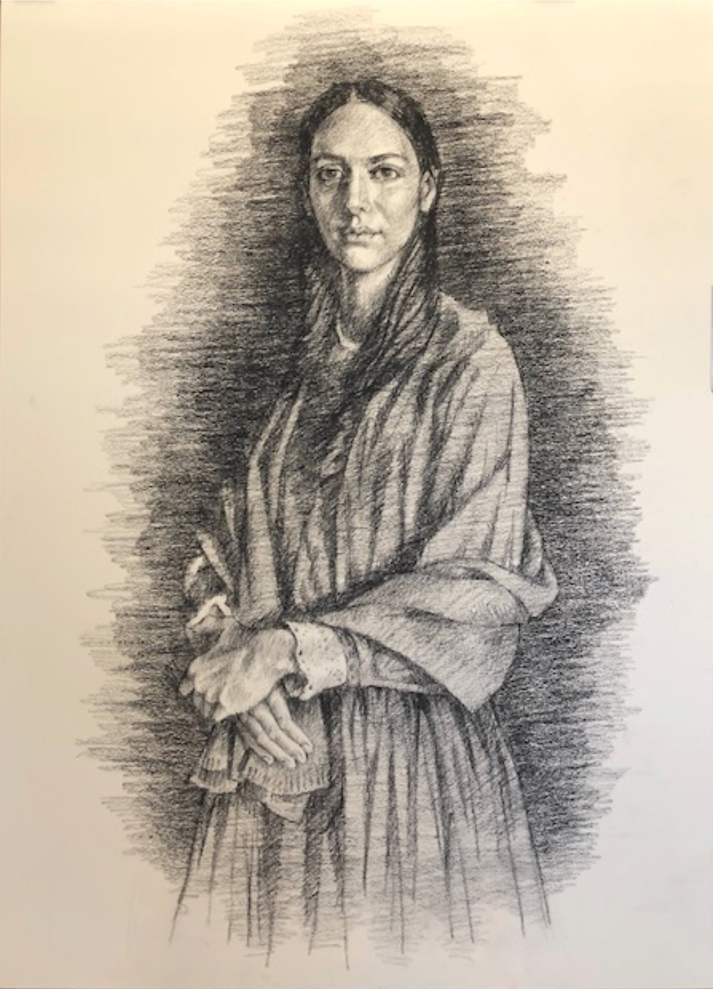 Black and white drawing of a young pioneer woman.