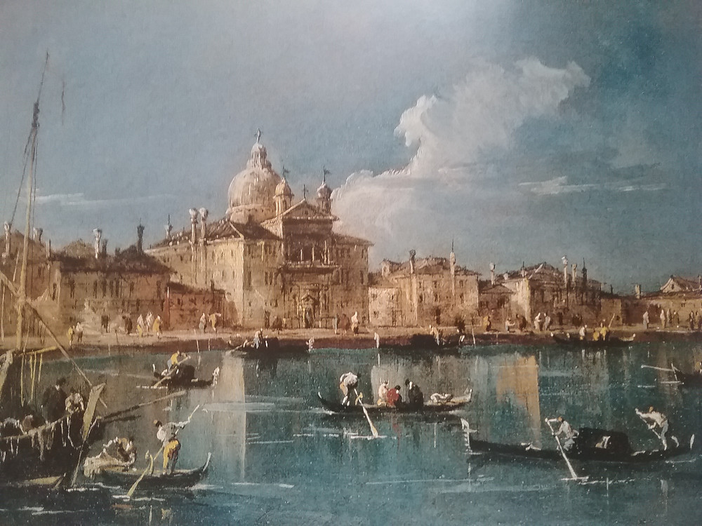 View of Church and Convent of Zatelli from the water with gondola by Francesco Guardi, c. 1780