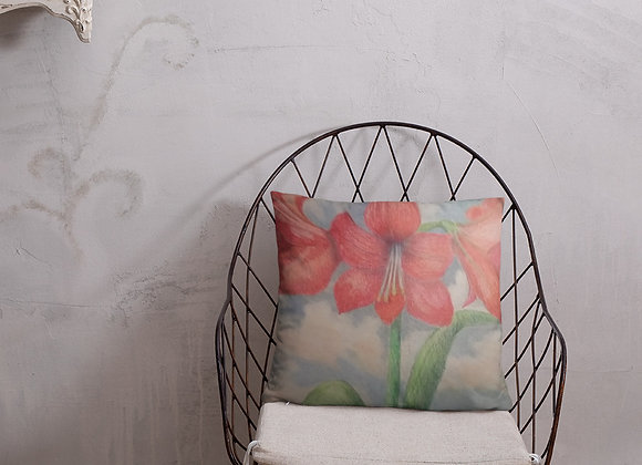 Amaryllis in The Clouds Square Pillow
