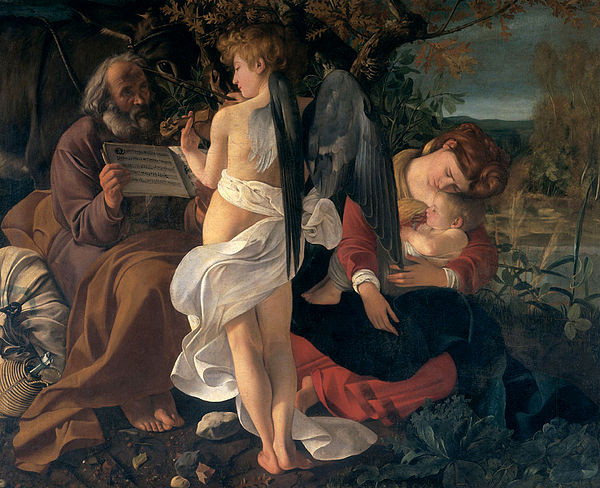 Holy family in pastoral setting being serenaded with violin music by an angel.
