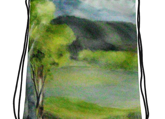 Little Green Trees Drawstring bag