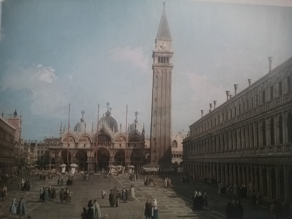 Painting of St. Mark's Basillica, Doges Palace and people in St. Mark's Square by Canaletto 1735-1738