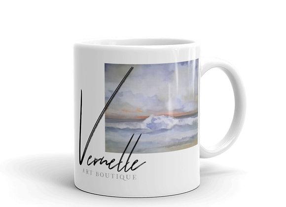 Pacific Waves Goodbye #2 White Glossy Mug
