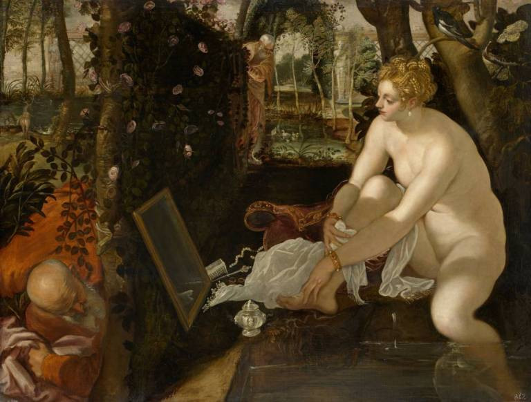 Venetian woman bathing in her garden