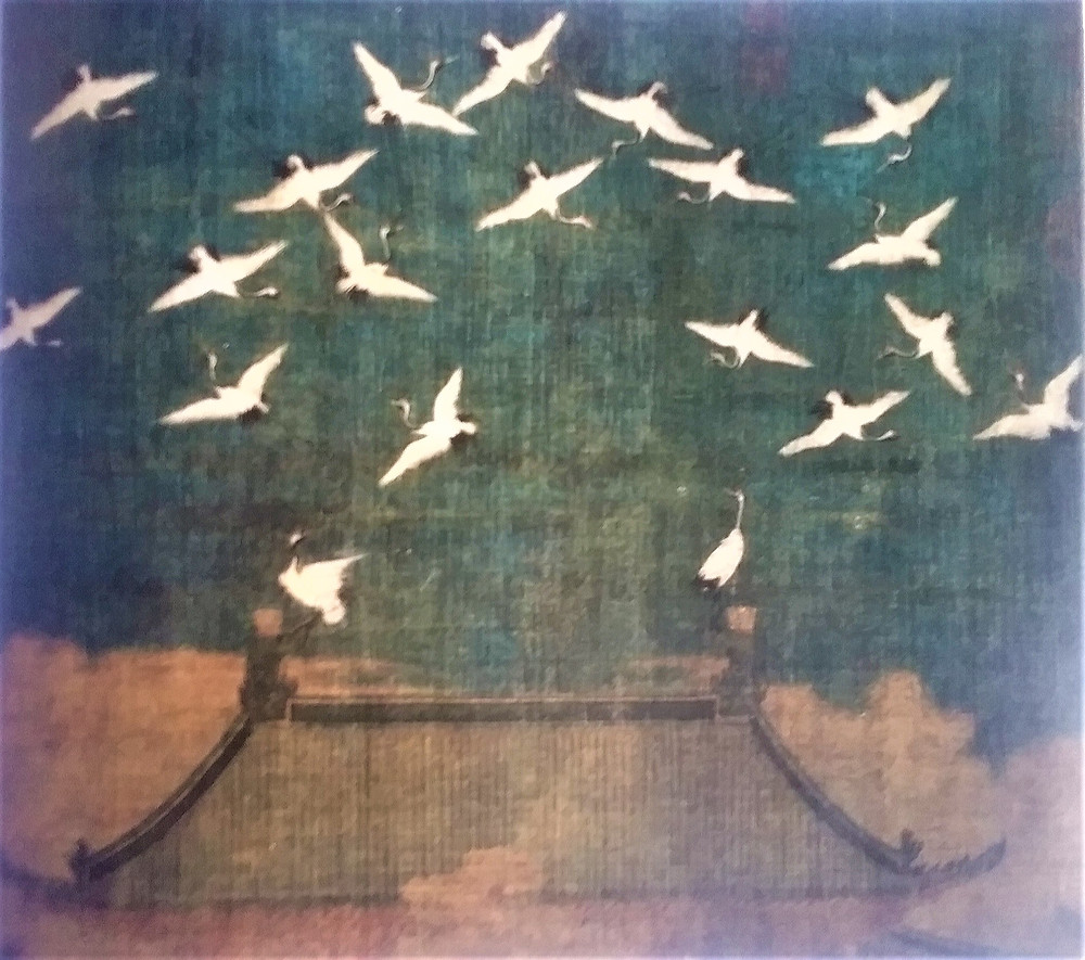 Chinese scroll in ink on silk of cranes flying over a pagoda