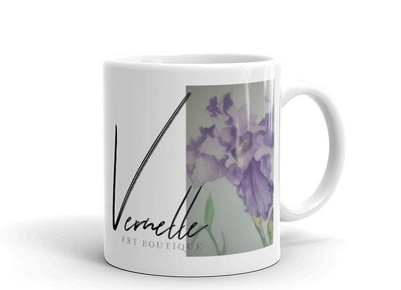 Iris White Glossy Mug