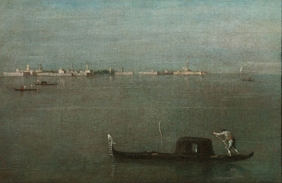 The Venetian lagoon with distant view of Venice and one lonely gondola in the foreground by Francesco Guardi, 1765.